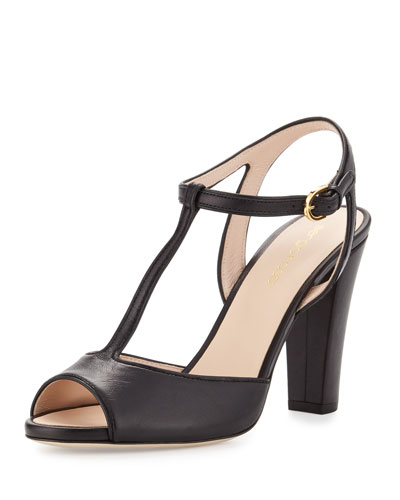 Peep-Toe Leather T-Strap Sandal, Black