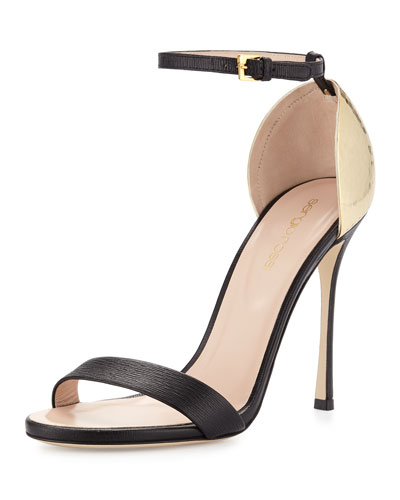 Hammered-Heel Strappy Sandal, Black