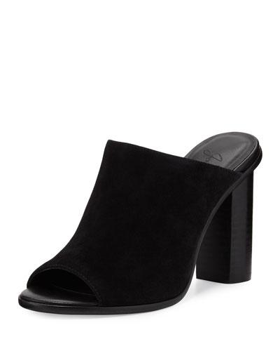 Clementine Suede Chunky-Heel Mule Sandal, Black