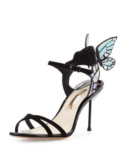 Chiara Butterfly Wing Ankle-Wrap Sandal, Black Iridescent