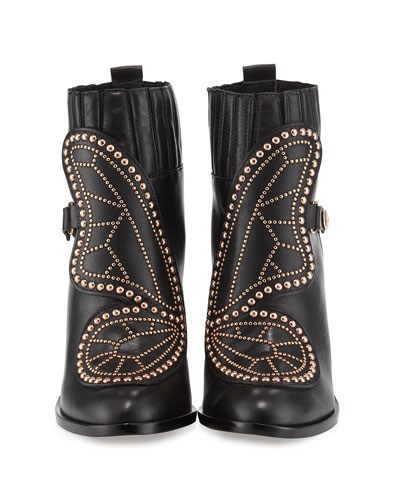 Karina Studded Butterfly 100mm Bootie, Black