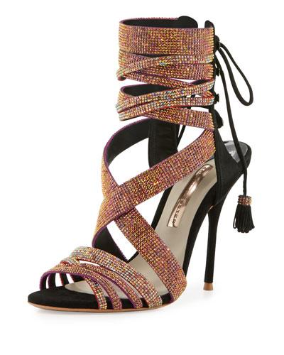 Adeline Crystal Lace-Up Sandal, Black/Pink