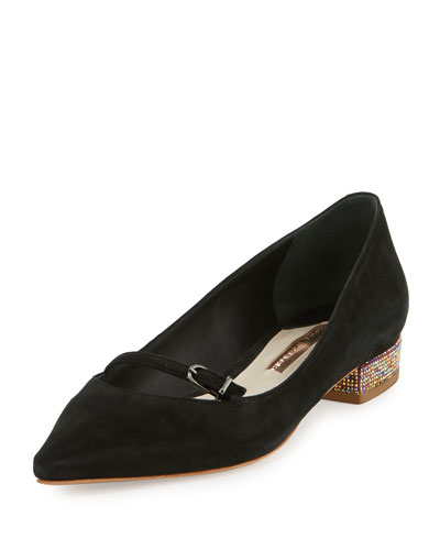 Piper Suede Pointed-Toe Flat, Black/Pink