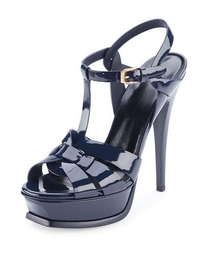 Tribute Patent Mid-Heel Sandal, Deep Marine