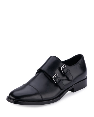 Dylan Double-Monk Leather Oxford, Nero