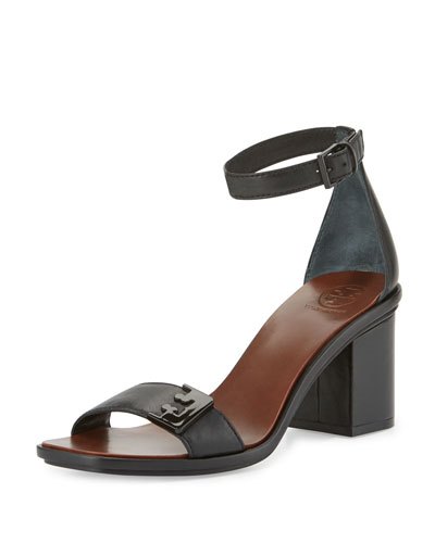 Gabrielle Leather City Sandal, Black