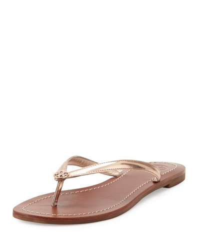 Terra Metallic Thong Sandal, Rose Gold