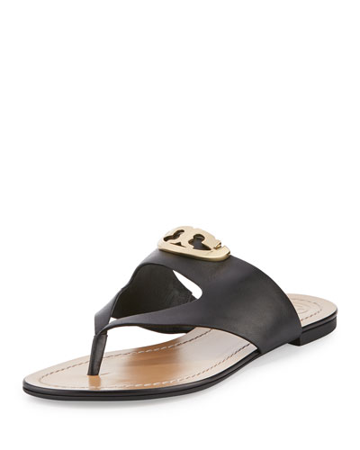Sydney Leather Logo Thong Sandal, Black