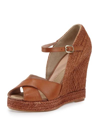 Giulia Leather Espadrille Wedge Sandal, Cuero