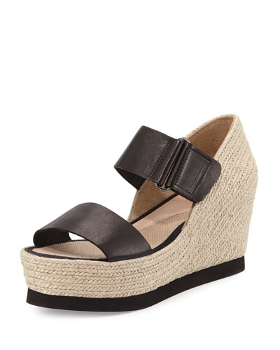 Gretta Leather Espadrille Wedge Sandal, Black/Natural