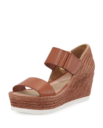 Gretta Leather Espadrille Wedge Sandal, Cuero