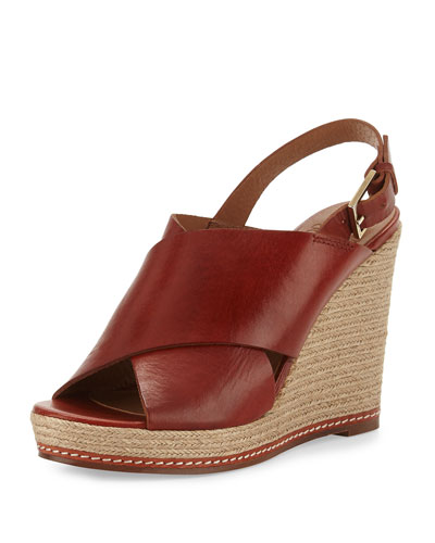 Cora Leather Espadrille Wedge Sandal, Burnt Sienna