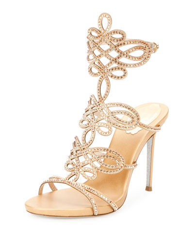 Laser-Cut Crystal 105mm Sandal, Gold
