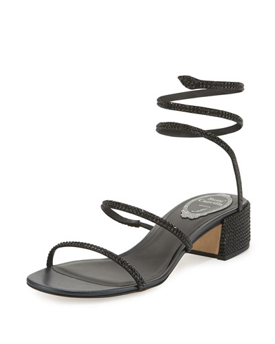 Crystal Snake 40mm Sandal, Black
