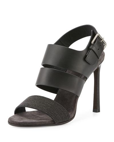 Monili Leather 105mm Sandal, Black