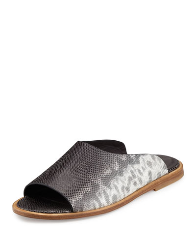 Lynnis Snake-Embossed Slide Sandal, Silver/Gray