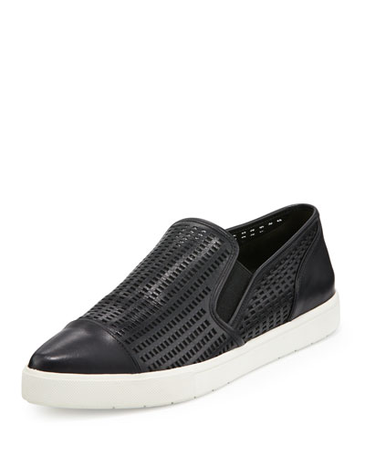 Payer Perforated Pointed-Toe Slip-On Sneaker, Black