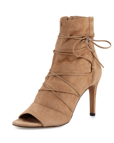 Adisa Lace-Up Open-Toe Ankle Boot, Sand