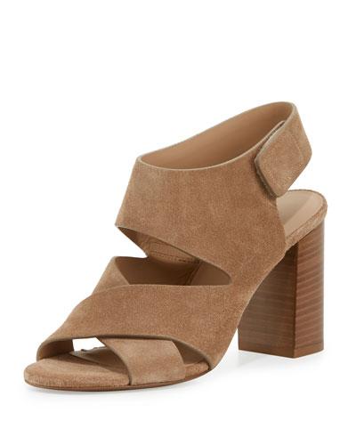 Farrah Suede Crisscross Sandal, Sand