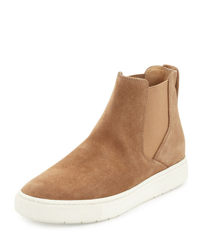 Newlyn Hidden-Wedge High-Top Sneaker, Sand