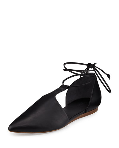 Noella Leather Lace-Up Flat, Black
