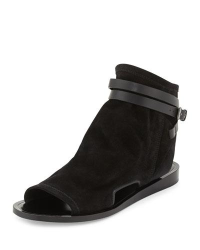 Thalia Slouchy Suede Cutout Sandal, Black