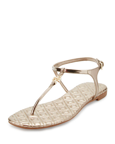 Marion Quilted T-Strap Sandal, Mica