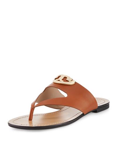 Sydney Leather Logo Thong Sandal, Brown