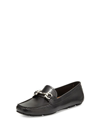 Parigi Leather Gancini Loafer, Nero