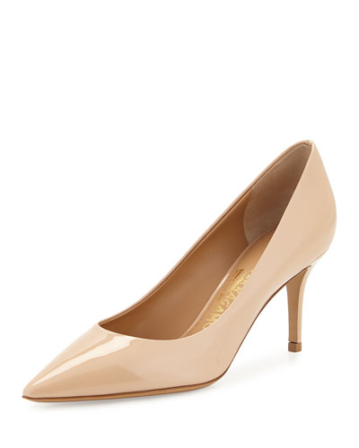 Susi Pointed-Toe Patent-Leather Pump, New Bisque
