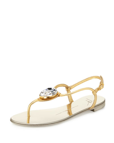 Nuvorock Jeweled T-Strap Sandal, Gold