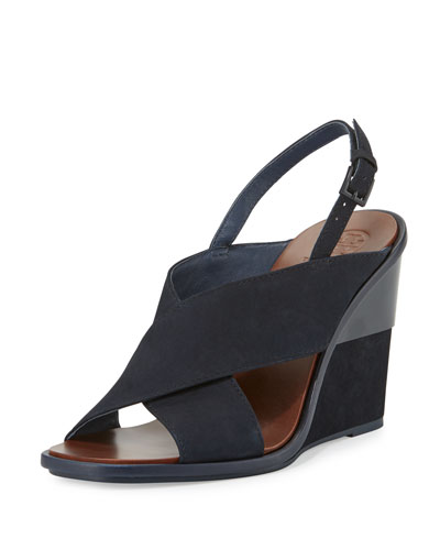 Gabrielle Suede Wedge Sandal, Royal Navy