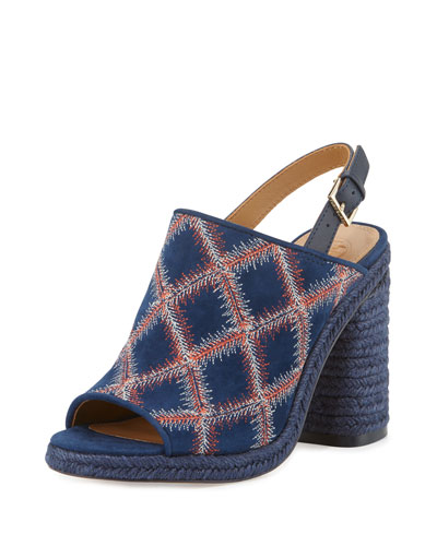 Trinity Embroidered Slingback Sandal, Royal Navy/Red