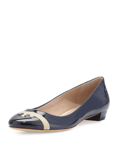 Gabrielle Patent Leather Flat, Royal Navy/Cashew