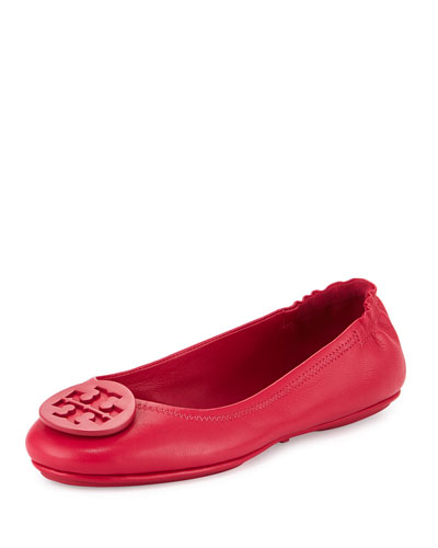 Minnie Travel Logo Ballerina Flat, Dark Peony