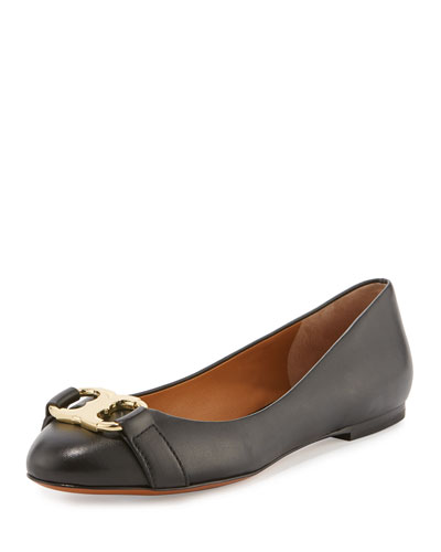 Gemini Link Leather Ballerina Flat, Black