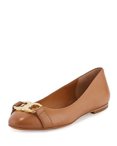 Gemini Link Leather Ballerina Flat, Royal Tan