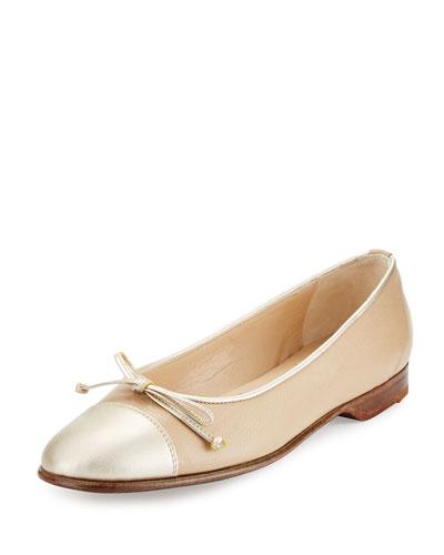 Cap-Toe Ballerina Flat, Ivory/Gold