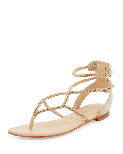 Crystal T-Strap Flat Sandal, Nude