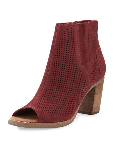 Majorca Perforated Open-Toe Suede Bootie, Dark Red