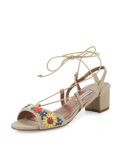Lori Meadow Embroidered Lace-Up Sandal, Linen/Multi