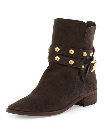 Janis Studded Suede Bootie, Asfalto