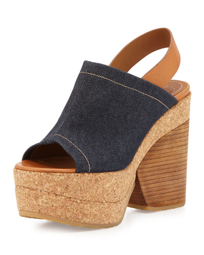 Edith Platform Wedge Sandal, Denim