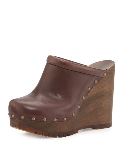 Clive Studded Leather Clog, Brown Mousse