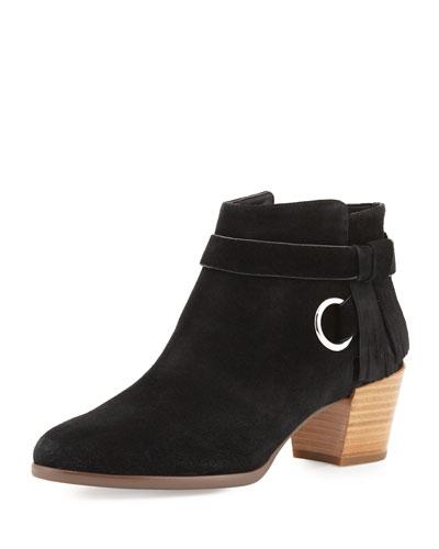 Selena Suede Ankle-Strap Bootie, Black
