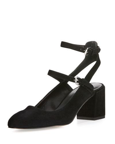 Brooke Suede Ankle-Wrap Pump, Black