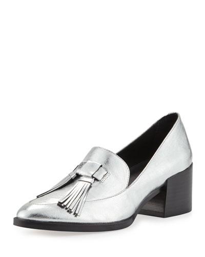 Edie Tassel Block-Heel Loafer, Silver