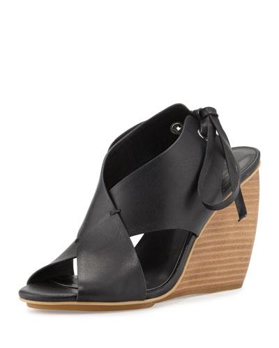 Eden Crisscross Wedge Sandal, Black
