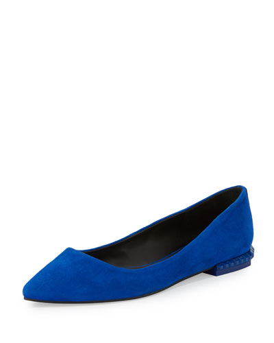 Fallon Leather Studded-Heel Flat, Deep Sapphire