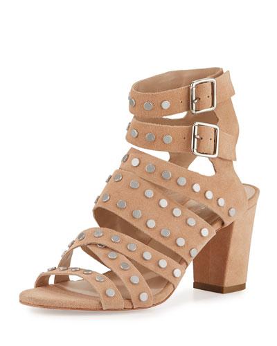 Galia Studded Strappy Sandal, Nude/Silver